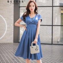 Dabuwawa 2018 Sexy v-ausschnitt Bandage Kleid Frauen Sommer Neue Mode Lange  blau Party Urlaub Plissee Kleid für Büro dame mädche. 2acaa66149
