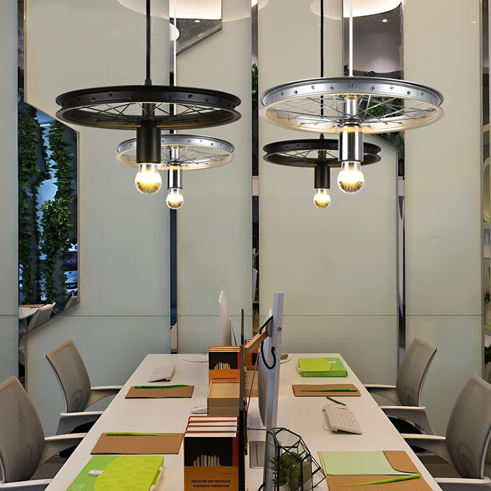 Loft Creative Personality Retro Hanglamp Restaurant Bar American Country Wrought Iron Chandeliers Industrial style wheels Lights fan lights retro personality loft industrial chandeliers restaurant cafe fan chandeliers lighting fixture led lamps for bedroom