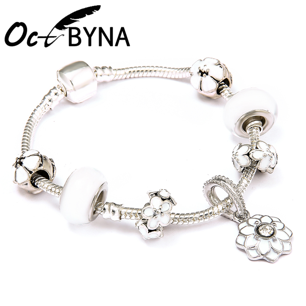 Octbyna New Fashion 925 Unique Silver Crystal Beads Charm Bracelet for Women Fits Pandora Bracelets Fine Jewelry 2018