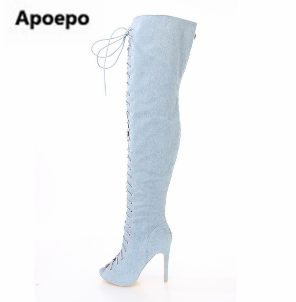 Apoepo brand boots lace-up thigh high boot stiletto blue denim shoes high quality high heels boots women shoes peep toe size 45 designer luxury designer shoes women round toe high brand booties lace up platform ankle boots high quality espadrilles boot