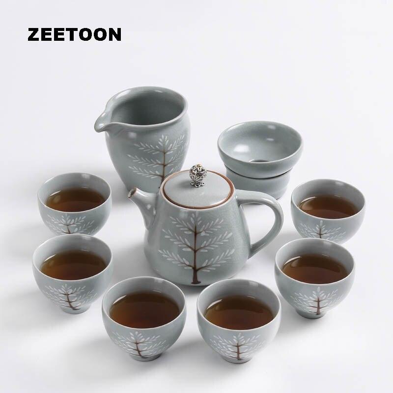 9 PCS/Lot créative peinte à la main en céramique japonaise porcelaine Adn poterie 1 théière 1 tasse équitable 1 Fliter 6 thé ensemble thé cérémonie