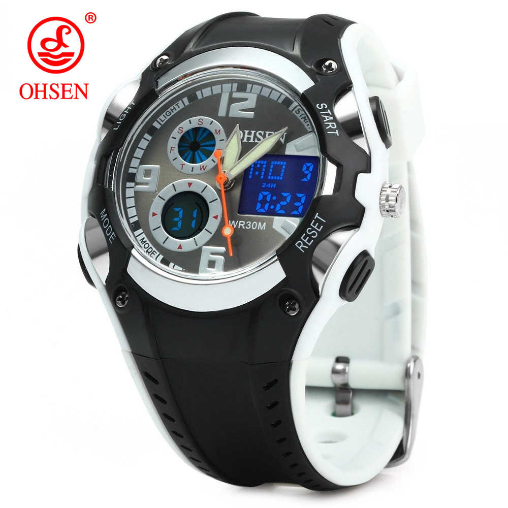 Original OHSEN Brand Quartz Sport Watch Wristwatch Children Boys Kids Gift Waterproof Led Sports Silicone Band Fashion Watches