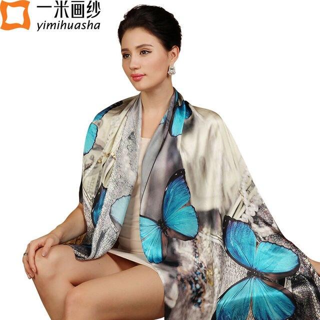 Luxury brand дизайнер Шелковый Шарф для женщин народного искусства стиль чернил мыть бабочка печати платки и шарфы платки femme