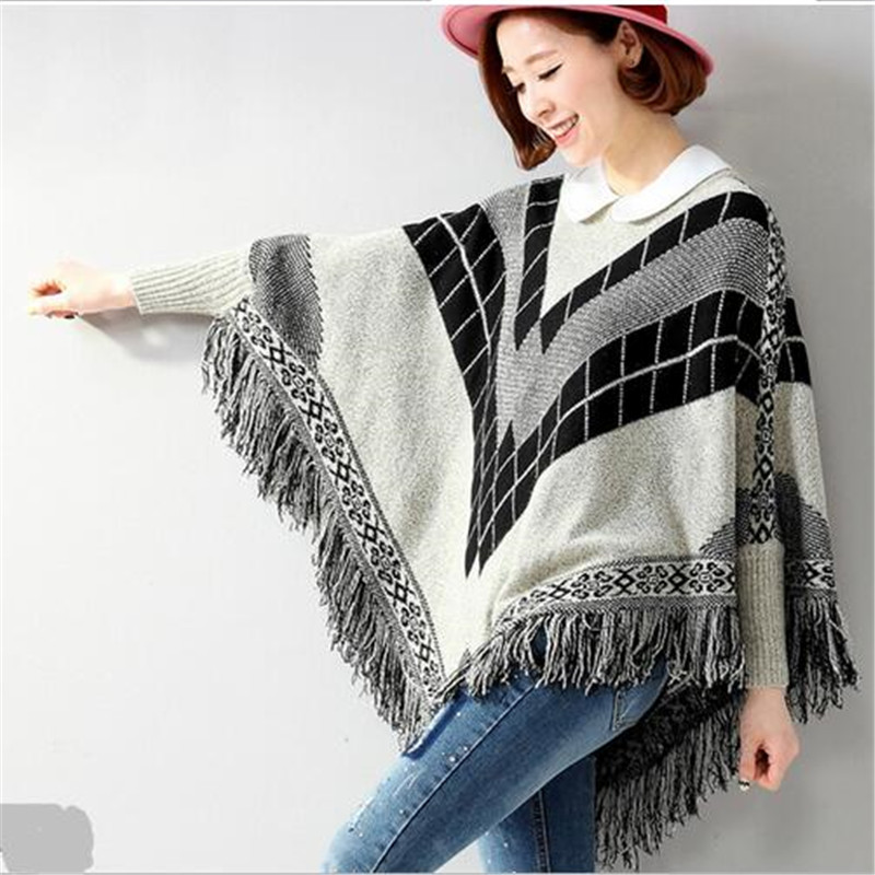 2016 Autumn Winter font b Fashion b font New Korean Lingge Fringed Bat Sleeve Loose Big