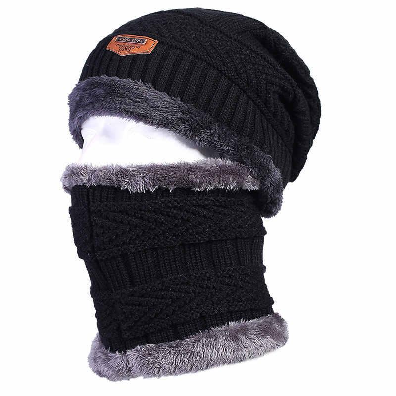 fa4368332ee Men s Thermal Fleece Lining Winter Beanies Hats and Neck Hood Balaclava  Style Skull Caps Set Gray