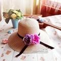 Мода Лето женская Складная Широкий Большой Брим Ladies'Cap цветок цветочные соломенная шляпа ведро солнце пляж шляпа для женщин