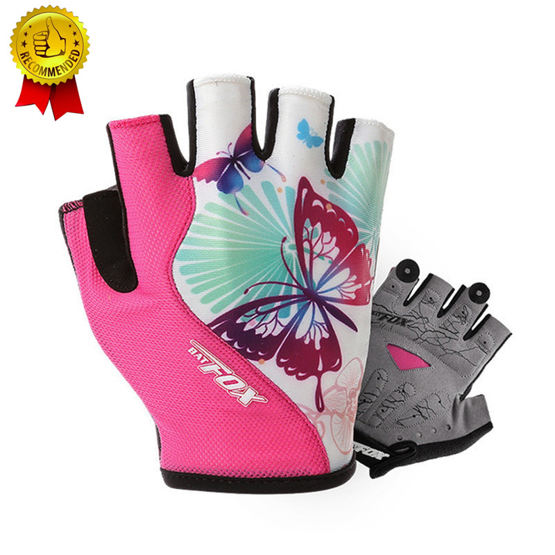 BATFOX Women Cycling Gloves Female Fitness Sport Gloves Half Finger MTB Bike Glove Road Bike Bicycle Gloves Bicycle Accessories batfox women cycling gloves female fitness sport gloves half finger mtb bike glove road bike bicycle gloves bicycle accessories