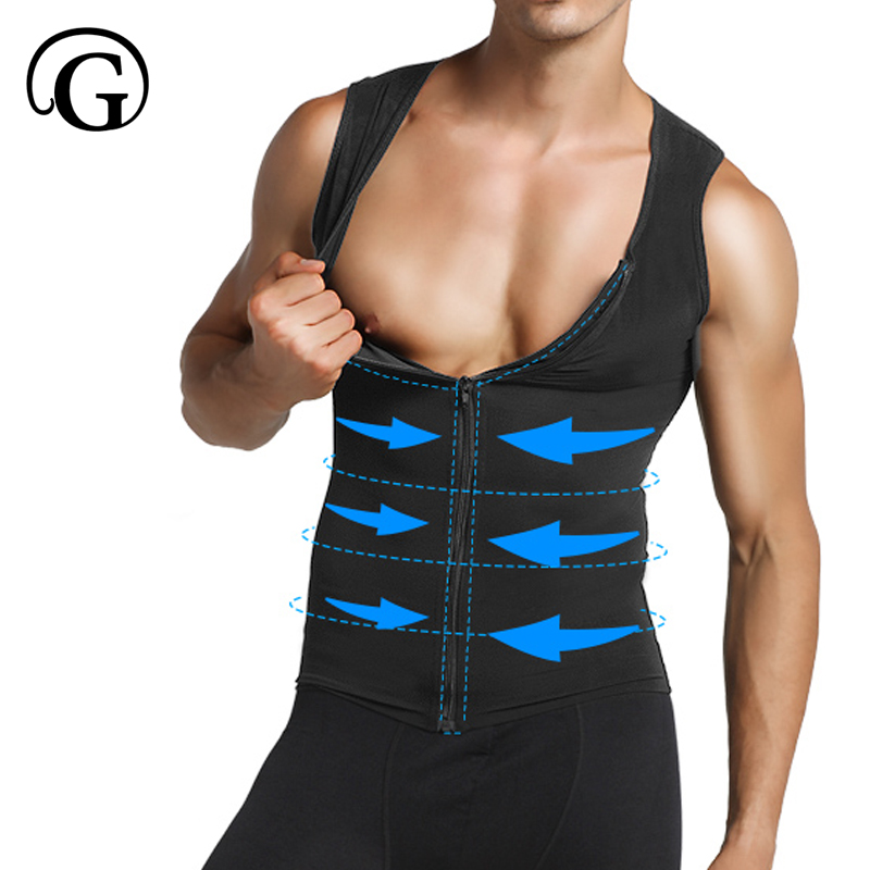 Men Control Chest Gynecomestia Underwer Slimming Breast Shirt Tank Tops body Shaper Belly Control Buster Compression Zipper Vest
