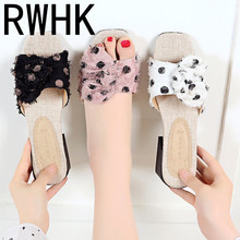RWHK 2019 summer new slippers womens shoes suede spotted bow party with low heel beach ladies B405