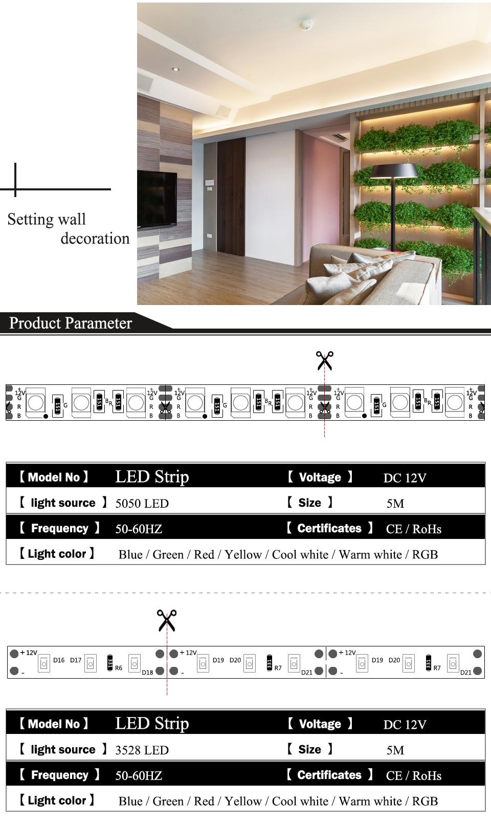 EnwYe 5M 300Leds waterproof RGB Led Strip Light 3528 5050 DC12V 60LedsM Fiexble Light Led Ribbon Tape Home Decoration Lamp_03