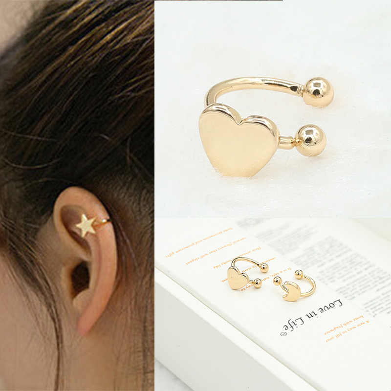 1PC Fashion Small Gold Silver Copper Moon Clover Star Heart Triangle No Pierced Earclips Earrings for Women Brincos Bijoux R016