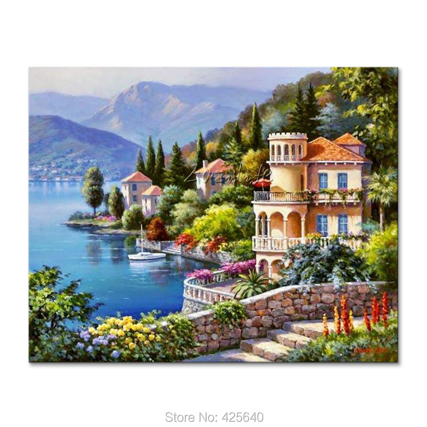 Hand-painted Mediterranean Seascapes painting for the sitting room decorates a wall pictures painted on the canvas art 23Hand-painted Mediterranean Seascapes painting for the sitting room decorates a wall pictures painted on the canvas art 23