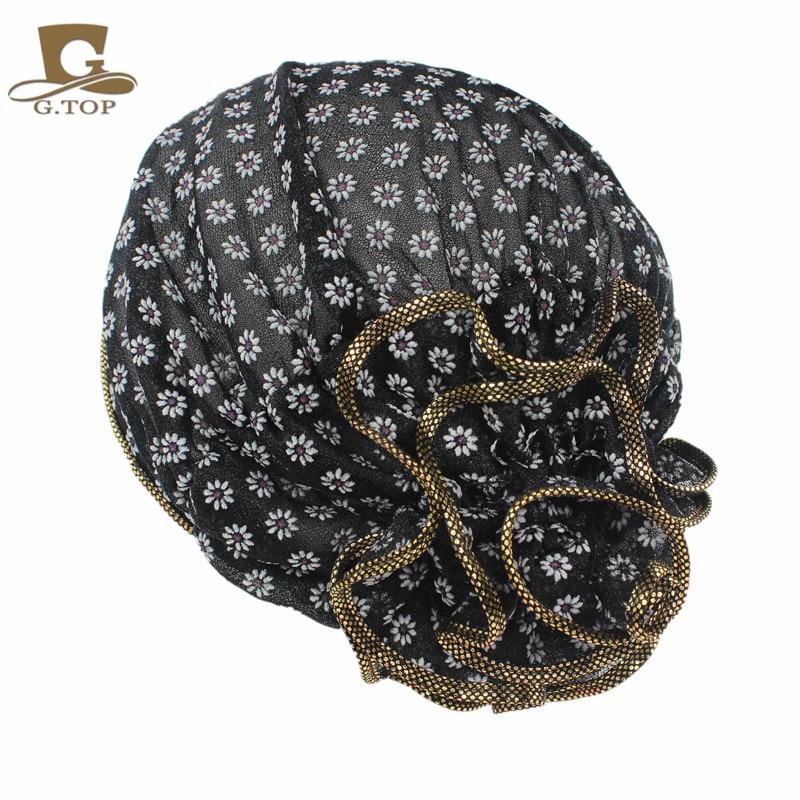 Free Shipping New Fashion Women Lace Flower Beanie Hat Bonnet Chemo Cap Muslim Scarf Hijab Islamic Turban Beanie Hats