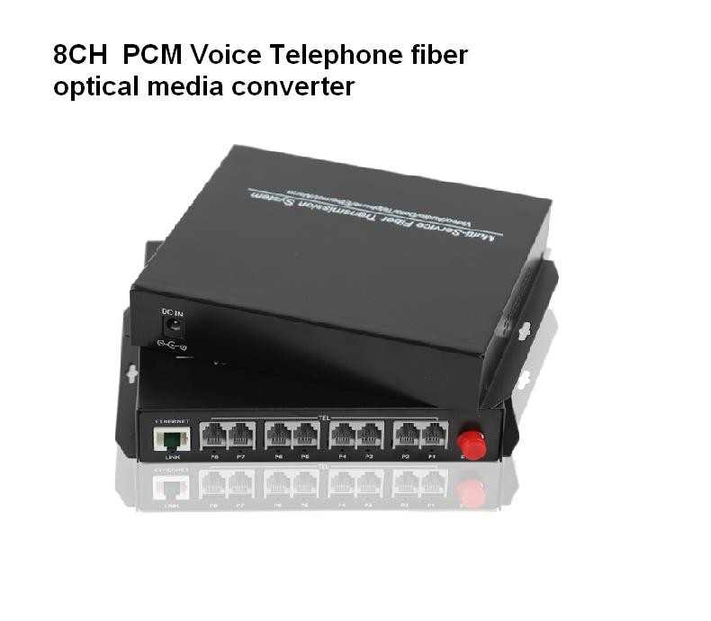 1Pair -FC single mode 20Km High quality 8 Channel PCM Voice Telephone fiber optical media converter+1 IP
