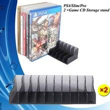 8d1ebed11 PS4 اكسسوارات 2 قطعة PS 4 ضئيلة برو 10 في 1 لعبة CD أقراص تخزين قوس حامل ل  سوني بلاي ستيشن 4 PS4 ألعاب القرص حامل