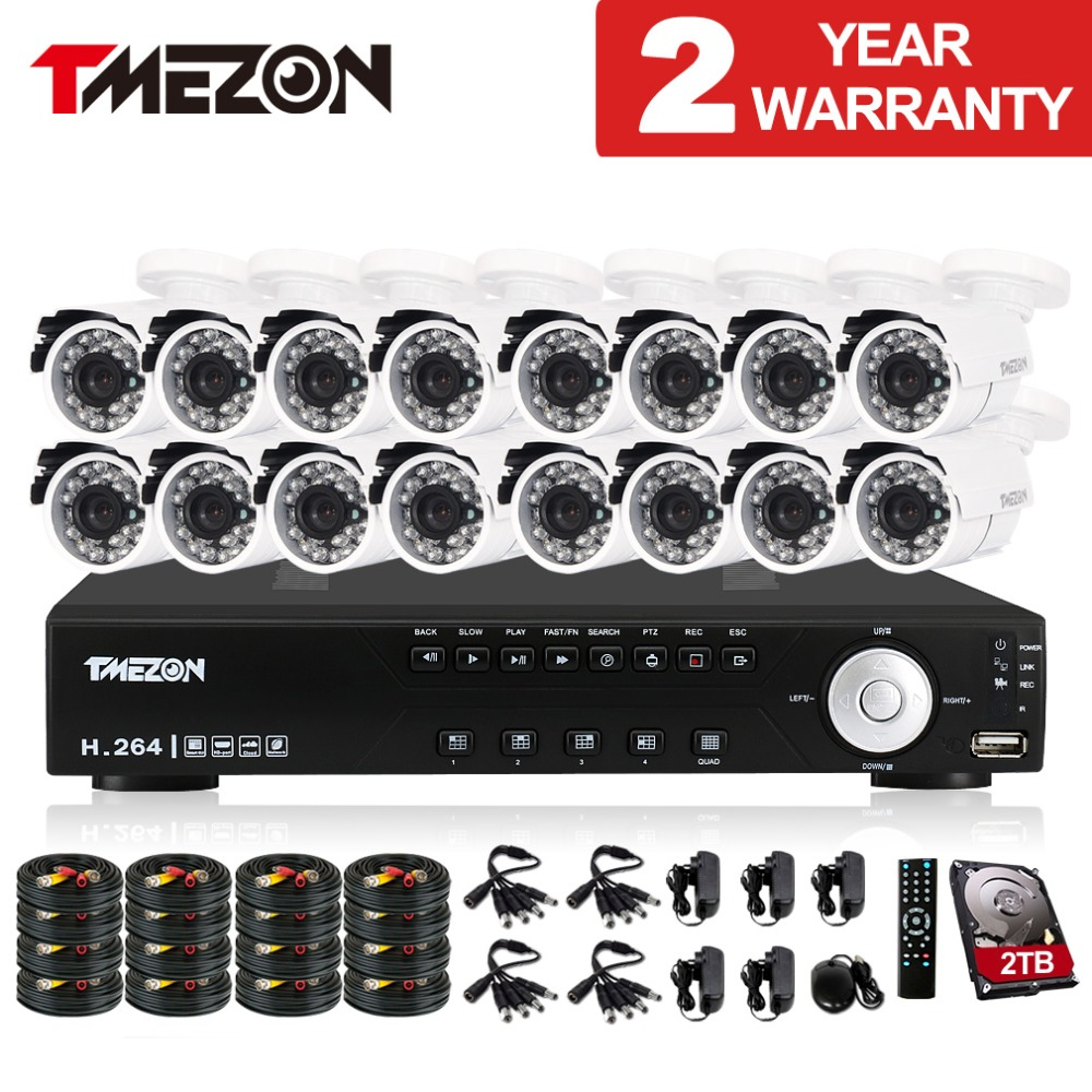Tmezon 16CH DVR 16pcs 1200TVL Camera Security Surveillance CCTV System Outdoor IR Night Vision Bullet Waterproof 1TB 2TB HD Kit ashanks 60cm 6 bearings carbon fiber dslr camera dv slider track video stabilizer rail track slider for dslr or camcorder