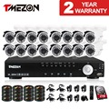 Tmezon 16CH DVR 16pcs 1200TVL Camera Security Surveillance CCTV System Outdoor IR Night Vision Bullet Waterproof 1TB 2TB HD Kit