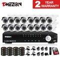 Tmezon 16ch dvr 16 unids 1200tvl cctv sistema de vigilancia de cámaras de seguridad al aire libre ir de visión nocturna impermeable de la bala de 1 tb 2 tb hd kit