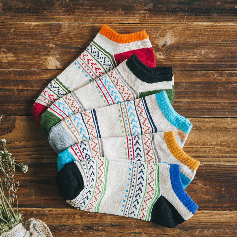 Men's socks famous brand ankle boat Sock For Men Women Autumn Retro art painting cotton casual short Fashion Male 3d sock