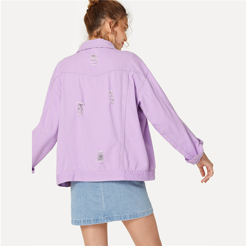 COLROVIE Ripped Drop Shoulder Women Denim Jackets Black White Oversize Purple Casual Female Jacket Coat Chic Jacket for Girls 10