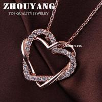 высочайшее качество zyn105 сладкие конфеты сердца ожерелье 18 к роуз позолоченные кулон ювелирные изделия сделано с австрия кристалл оптовая