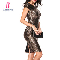 Backless Sexy Dress Women Sequined Charming Slit Night Party Slim Solid Color Bodycon Dress Bubblekiss