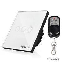 FUNRY EU Standard ST1 3Gang Smart Remote Control Touch Radio Light Switch Momentary Push Button Luxury