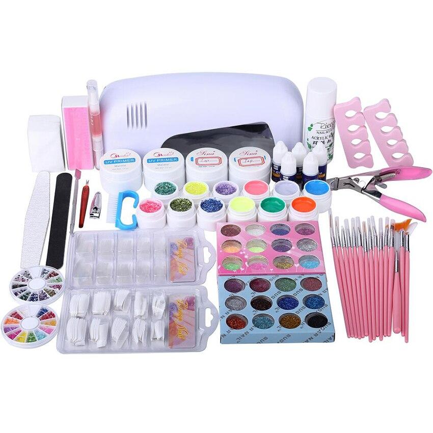 professional nail art set manicure tools kits sets uv nail gel set with 9w uv dyer lamp. Black Bedroom Furniture Sets. Home Design Ideas