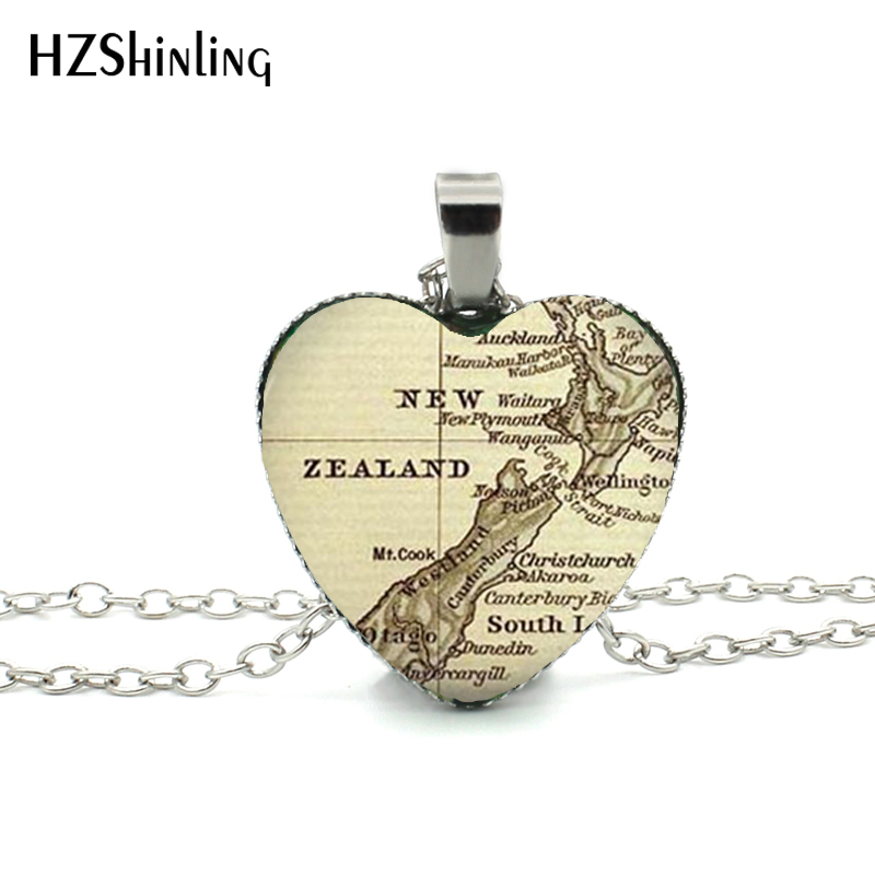 Map Of South Ireland New Zealand.Us 0 97 35 Off New Vintage Map Heart Necklace New Zealand Map Heart Pendant Ireland Map Jewelry Silver Heart Necklace Hz3 In Pendant Necklaces From