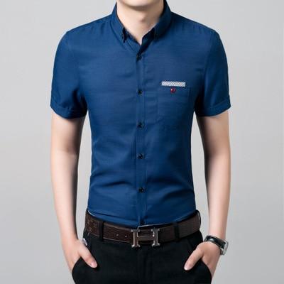 2019 Korejská letní móda pro muže Pánská pevná košile s krátkým rukávem Neformální dámská košile pánská košile