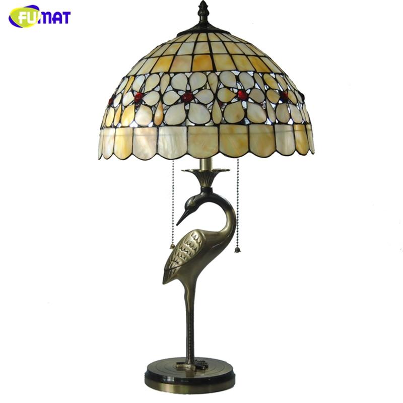 FUMAT Tiffany perle Floral abat-jour lampes de Table coquille naturelle grue forme Lampholders lampes de Table chambre salon lumières