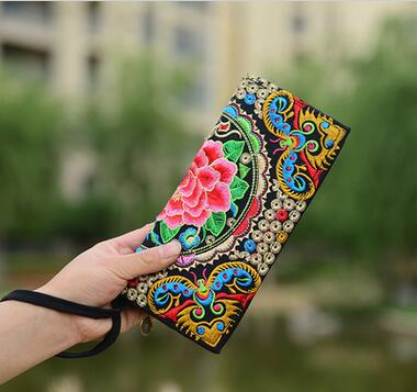 New Coming Multi Embroidered Wallet!Hot Purse Handmade Ethnic Flowers Embroidery Carrier Women Long Wallet Day Clutch HandBag a three dimensional embroidery of flowers trees and fruits chinese embroidery handmade art design book