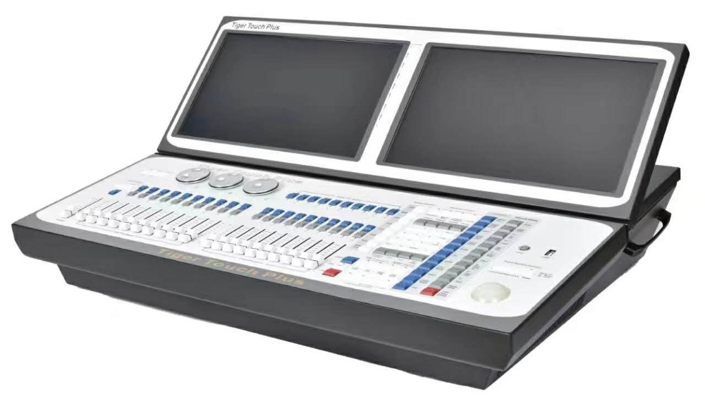 New Tiger touch plus dmx moving light controller double screen dj console with flightcase titan 11 version disco
