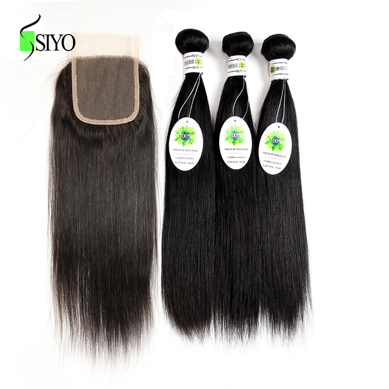 Siyo Peruvian Straight Hair 3 Bundles With Closure 100% Human Hair Bundles with Lace Closure 4x4 Inch Free Part Non Remy