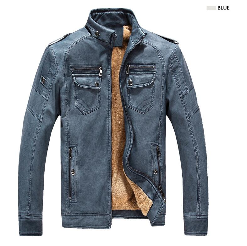 ENWAYEL Herbst Winter Warme Samt Herren Jacken Mantel Motorrad PU Männlichen Leder Jacke Männer Casual Windjacke Faux Leder Mantel