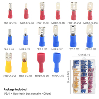 Female Male Insulated Spade Electrical Connector Crimp Terminal Connectors Cable Wire Connector Audio Wiring Butt 400Pcs
