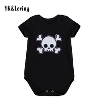 Summer Baby Boy Romper Cotton Short Sleeve Jumpsuit For 0 2 Years Cool Skull Print Baby