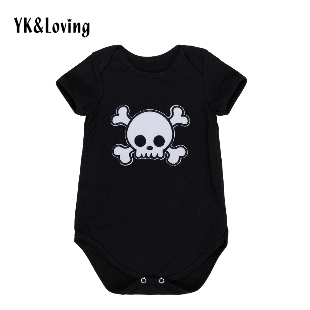 Baby Boy Romper Cotton Short Sleeve Jumpsuit for 0-2 Years Cool Skull Print Baby Clothes Black Toddler One-Piece Clothing stylish scoop neck half sleeve argyle print women s romper