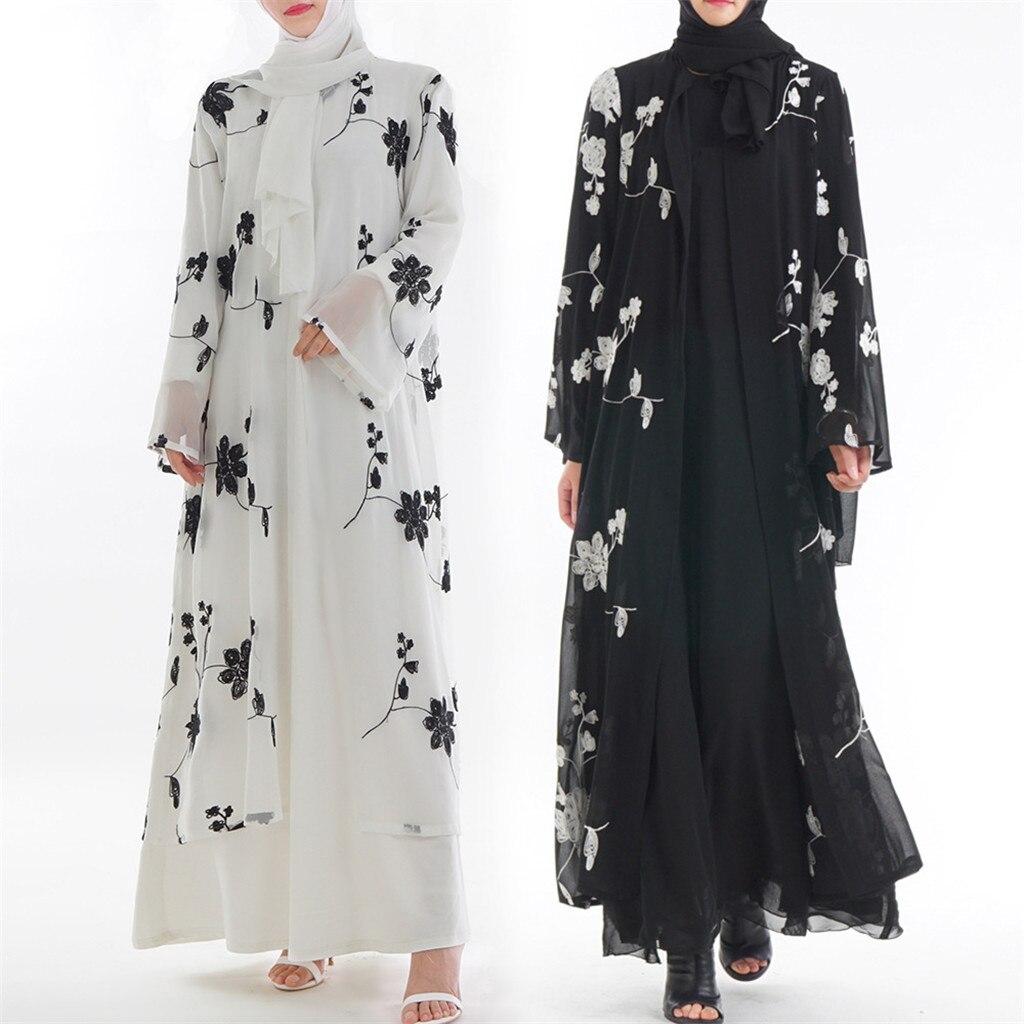 Muslim Women Dress Turkish Abaya Printed Flower Maxi Kimono Open Abaya Robe Dubai Muslim Dress Women Ramadan Kaftan#G6
