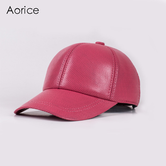 HL013  genuine leather baseball cap/hat brand new real  sheepskin leather adjustable caps/hats with 4 colors