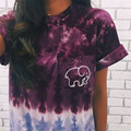 New Arrivals  Women's fashion tie dye elephant short sleeve T-shirt women's clothing casual printed round neck T-shirt tops