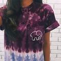 Novedades mujer moda tie dye elefante de manga corta T-shirt ropa casual de las mujeres impreso cuello redondo T-shirt tops