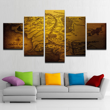 Modern Decor Canvas Painting Frame Home Bedroom Wall Art 5 Pieces Game Of Thrones Map Pictures HD Printed Modular Poster PENGDA no frame canvas