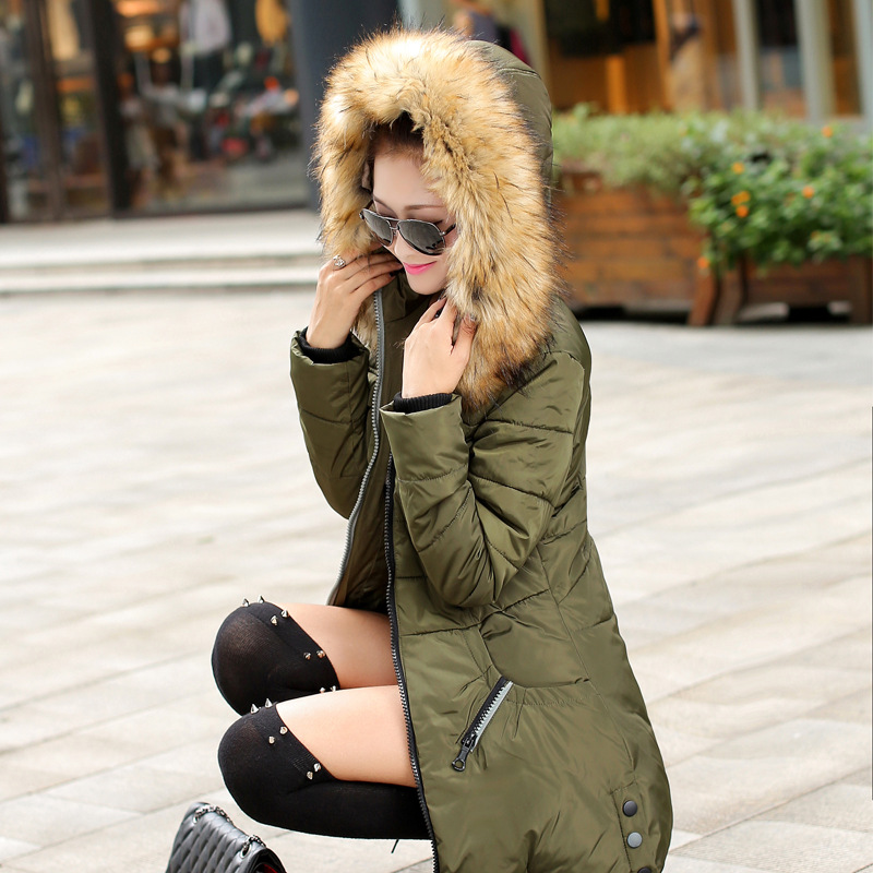 2016 New Slim Cotton Size Women Girls Long Coat Designer Womens Winter Coats Hooded Jacket Sale