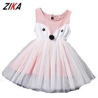 Zika الأطفال اللباس 1-5 سنوات الفتيات الثعلب الطابع الكورية لطيف الاطفال الوردي اللباس الطفل فتاة أكمام صافي غزل الملابس