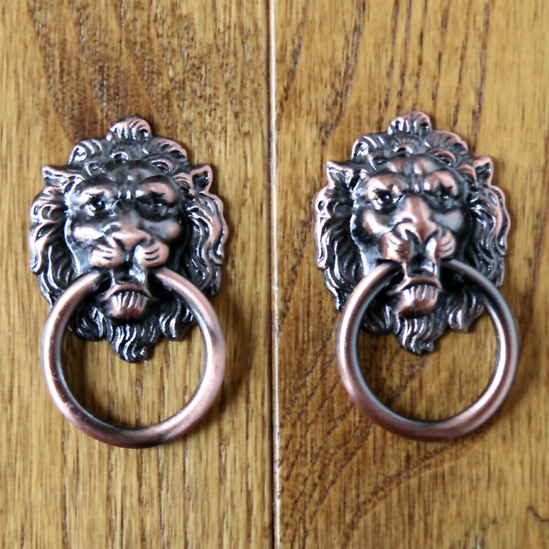 hot sale 10pcs red bronze cabinet lion head knobs decorative handles furniture dresser pulls cupboard door - Decorative Door Knobs