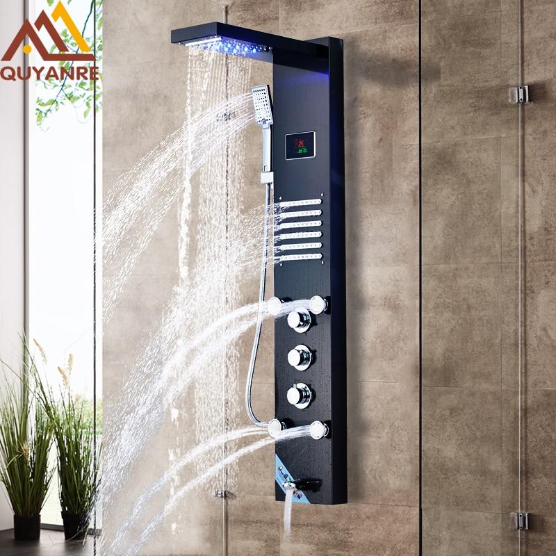 Quyanre Black LED Shower Panel Rain Waterfall Shower Temperature Screen Massage SPA Jet Three Handles Mixer Tap Sink Faucet Set