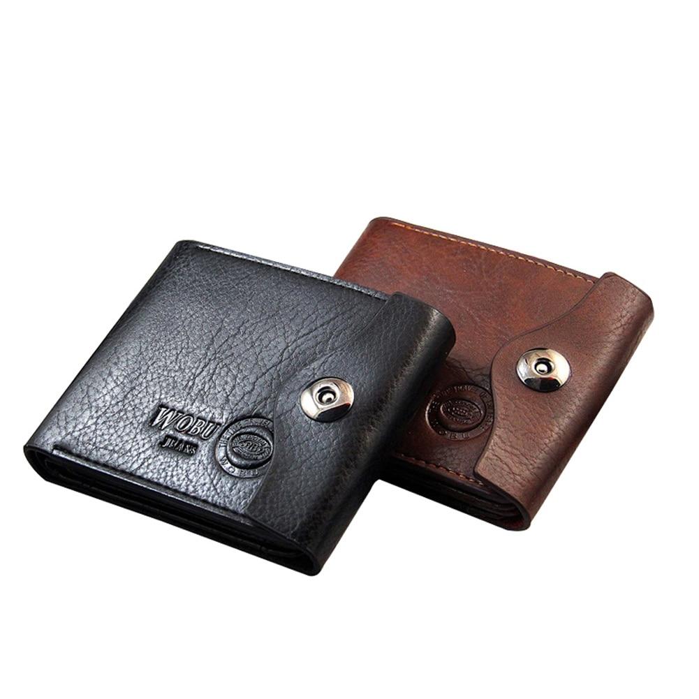 Fashion Men Short Coin Purse PU Leather Solid Color Vintage Clutch Money Bag Card Holder Hasp Man Wallet WML99 2015 women s coin purse money bag case wallet keys card pouch big flower pattern hasp 6o3h