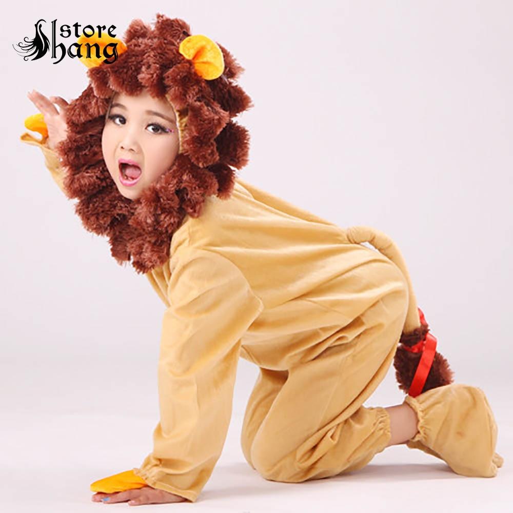 Kids Cowardly Lion Costume Toddler Baby Lion Costume Dress Up Animal Onesie Leotard Jumpsuit Halloween Carnival Costume for Kids