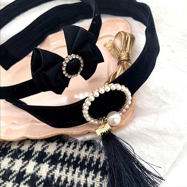 Korea Handmade Lady Velvet Bow knot Rhinestone Pearl Hairbands Headbands  for Adult women Head wear Hair Accessories-SWAWHRB010C5 97c32b6ca972
